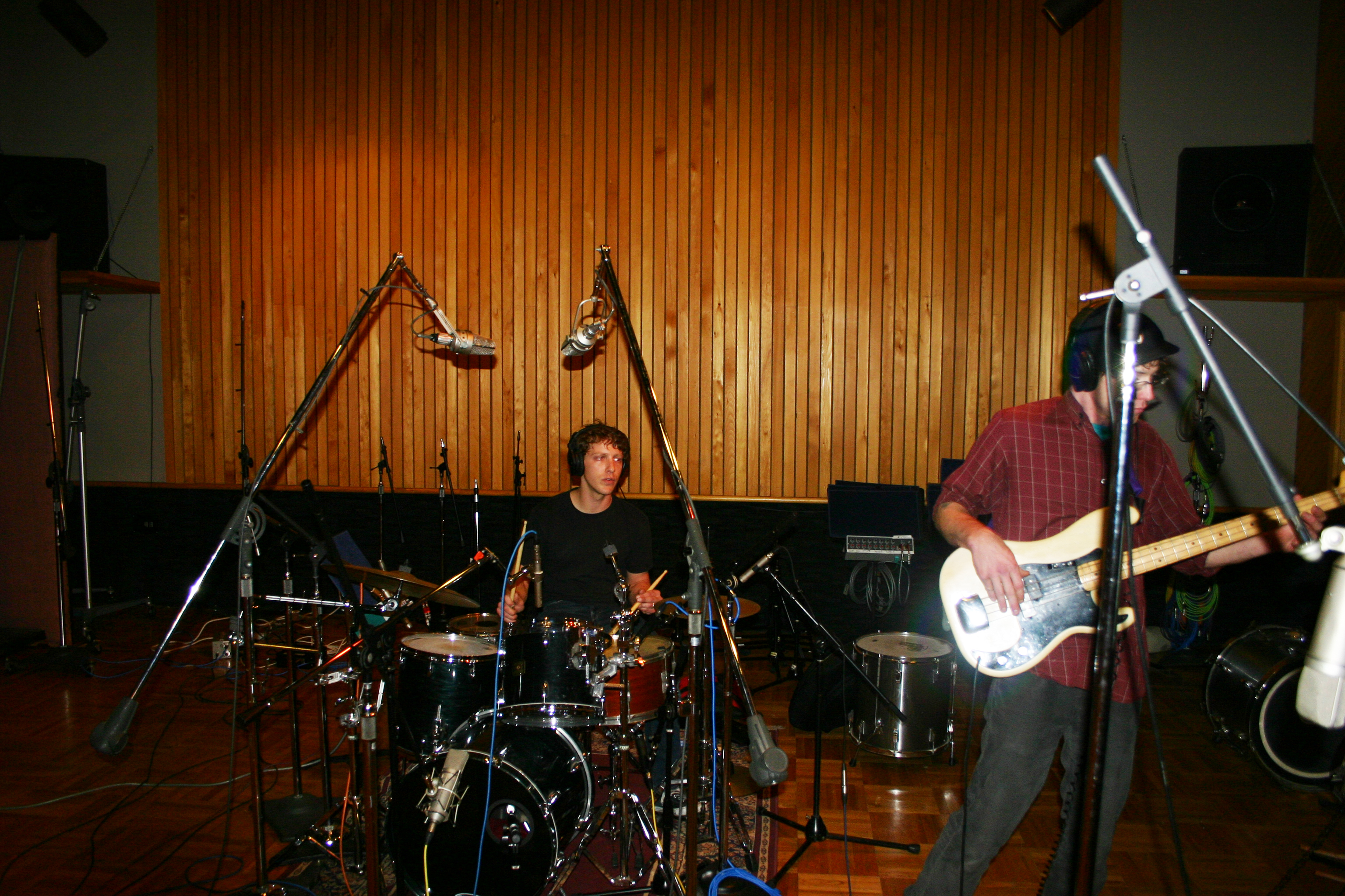 "Mike ""Lumpy"" Hughes playing drums with bassist Matt Montgomery in the project ""Throttle Elevator Music."""