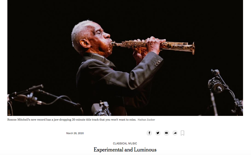 Picture of the NY Times review of Roscoe Mitchell: Distant Radio Transmission