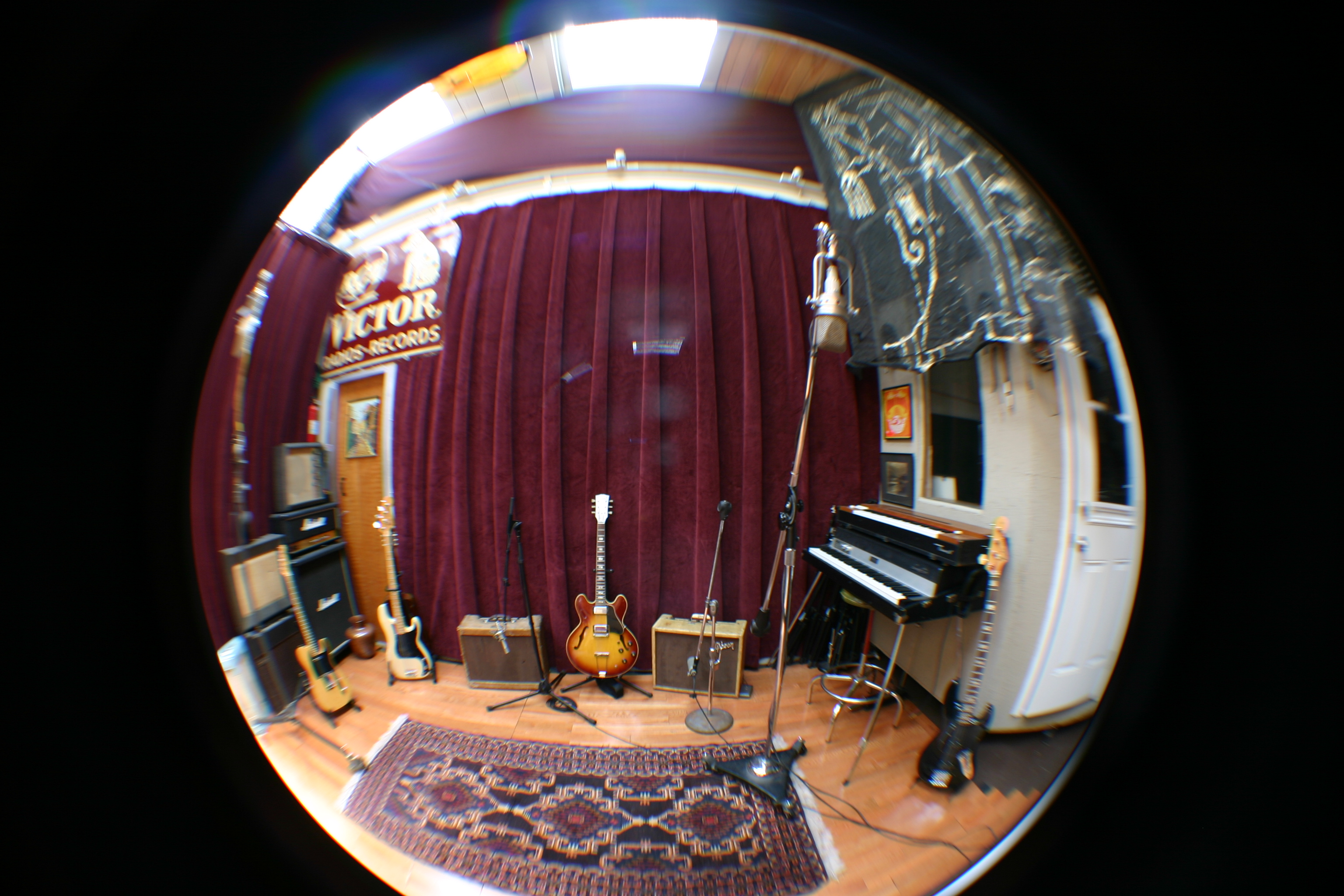 A fish-eye view of the Wide Hive Studios live room, in Berkeley, California.