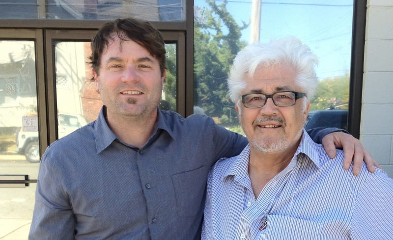 Gregory Howe and Larry Coryell, in 2012, in front of Wide Hive Studios, in Berkeley, California.