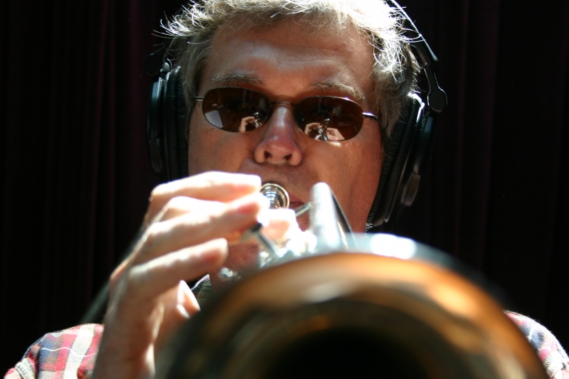 Tim Hyland playing the trumpet.