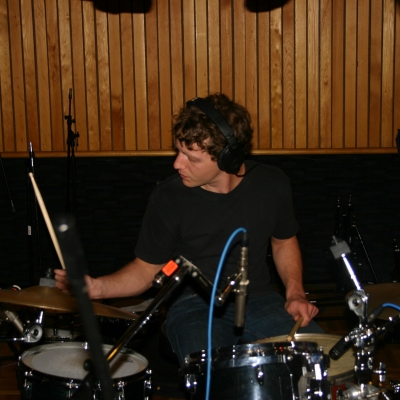 Lumpy playing the drums.