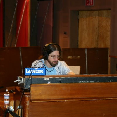 Matt Cunitz on a keyboard at the Wide Hive Studio.